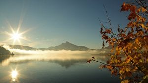 Water, mountain light