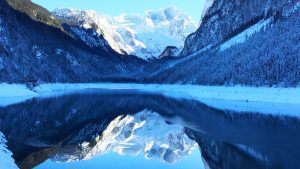 Mountain peak reflected in Lake Gossau