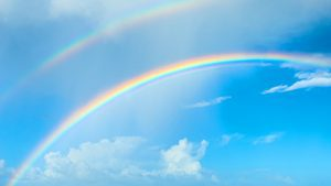 Sky and rainbow image with link to nondual meditation